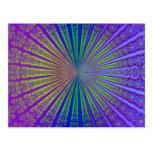 Túnel abstracto púrpura del fractal de la verde postales