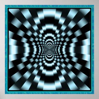 Túnel azul de pulsación misterioso póster
