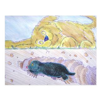 túnel de excavación del topo lindo del dibujo anim postales