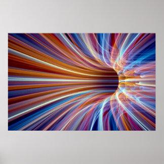 Túnel de la raya de la fibra óptica posters