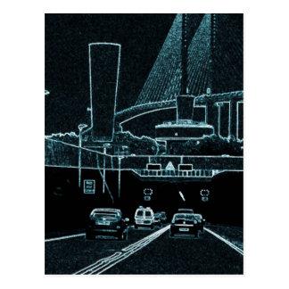 Túnel de Londres que brilla intensamente azul en Postal