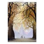 Túnel del árbol del invierno tarjeta