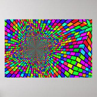 Túnel psicodélico de bloques poster