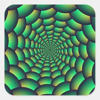 Túnel verde del espiral de la bola pegatina cuadrada