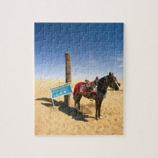 Túnez, área de Ksour, Ksar Ghilane, caballo en Puzzle