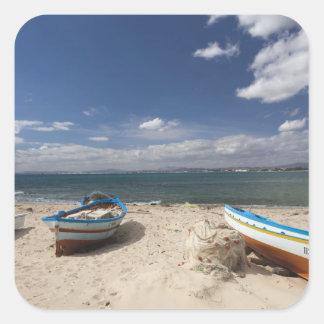 Túnez Bon del casquillo Hammamet barcos de pesc Calcomania Cuadradas