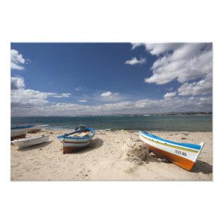 Túnez, Bon del casquillo, Hammamet, barcos de pesc Impresiones Fotográficas