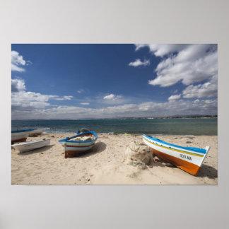 Túnez, Bon del casquillo, Hammamet, barcos de pesc Póster