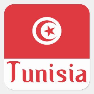 Túnez Calcomania Cuadrada Personalizada