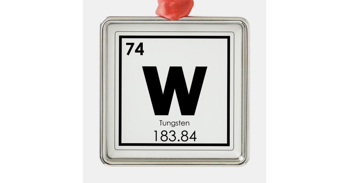 Tungsten Chemical Element Symbol Chemistry Formula Metal Ornament