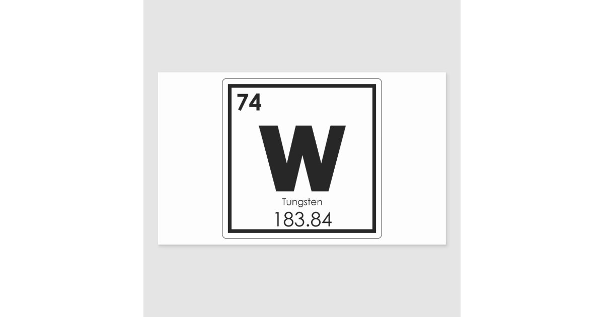 Tungsten Chemical Element Symbol Chemistry Formula Rectangular