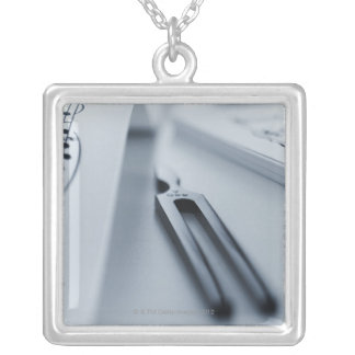 Tuning Fork Square Pendant Necklace
