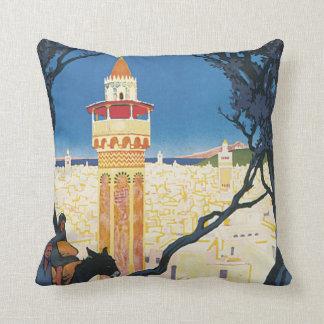 Tunis Vintage Travel Poster Throw Pillow