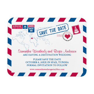 Tunisia Airmail Wedding Save the Date sz 3x4 Magnet