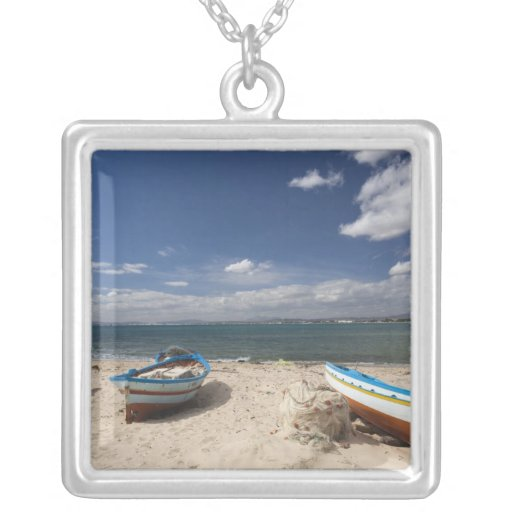 Tunisia, Cap Bon, Hammamet, fishing boats on Personalized Necklace