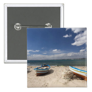 Tunisia, Cap Bon, Hammamet, fishing boats on Pinback Button