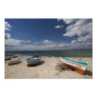 Tunisia, Cap Bon, Hammamet, fishing boats on Poster