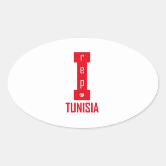 tunisia design oval sticker
