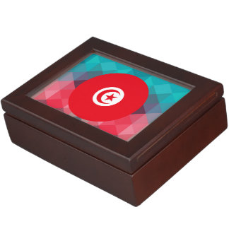 Tunisia flag circle on modern bokeh keepsake boxes