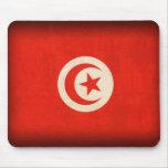 Tunisia Flag Distressed Mousepad