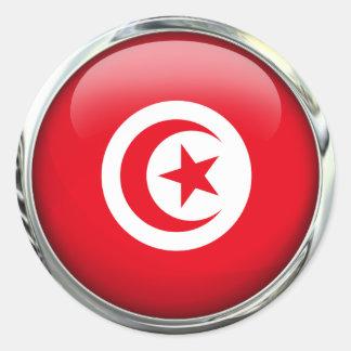 Tunisia Flag Glass Ball Round Stickers