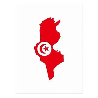 Tunisia flag map postcard