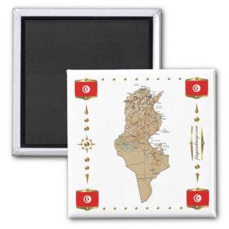 Tunisia Map + Flags Magnet