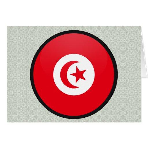 Tunisia quality Flag Circle Greeting Cards