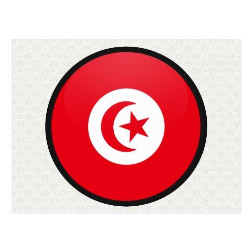 Tunisia quality Flag Circle Postcard