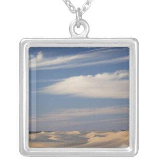 Tunisia, Sahara Desert, Douz, Great Dune, dusk 2 Square Pendant Necklace