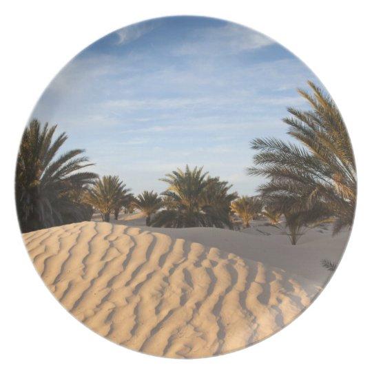 Tunisia, Sahara Desert, Douz, Great Dune, palm 2 Dinner Plate