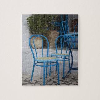 Tunisia, Sidi Bou Said, cafe chairs Jigsaw Puzzle