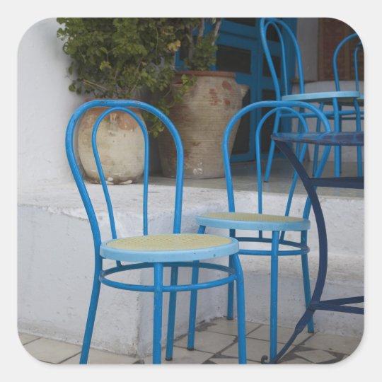 Tunisia, Sidi Bou Said, cafe chairs Square Sticker