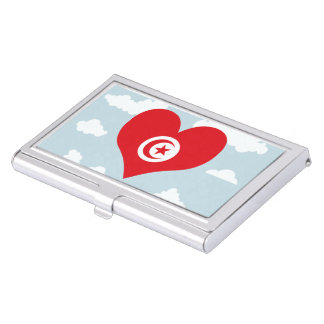 Tunisian Flag on a cloudy background Business Card Holder