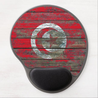Tunisian Flag on Rough Wood Boards Effect Gel Mouse Pad