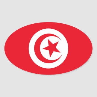 Tunisian Flag Oval Sticker
