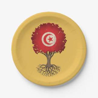 Tunisian Flag Tree of Life Customizable 7 Inch Paper Plate