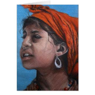 Tunisian Olive Picker Girl Greeting Card
