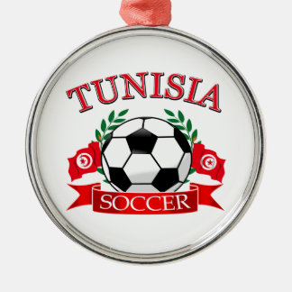 Tunisian Soccer Designs Round Metal Christmas Ornament