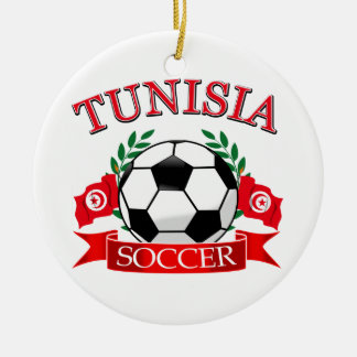 Tunisian Soccer Designs Double-Sided Ceramic Round Christmas Ornament