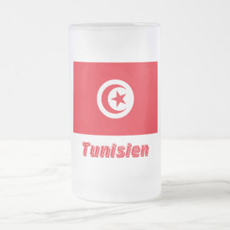 Tunisien Flagge mit Namen Frosted Glass Beer Mug