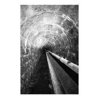 Tunnel in black and white stationery
