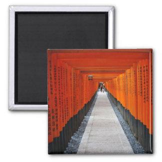 Tunnel of red shrine gates at Fushimi Inari, Kyoto 2 Inch Square Magnet
