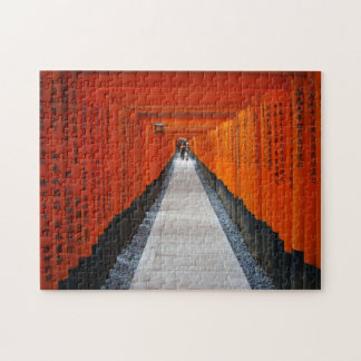 Tunnel of red shrine gates at Fushimi Inari, Kyoto Jigsaw Puzzle