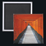 """Tunnel of red shrine gates at Fushimi Inari, Kyoto Magnet<br><div class=""""desc"""">The shrine is famous for its hundreds of red shrine gates that build a tunnel. It has been featured in Hollywood movies such as &quot;Memoirs of a Geisha&quot;. Feel free to customize this product. You can change the image size and even add text.</div>"""
