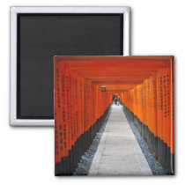 Tunnel of red shrine gates at Fushimi Inari, Kyoto Magnet