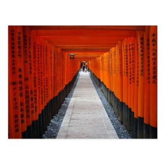 Tunnel of red shrine gates at Fushimi Inari, Kyoto Postcard