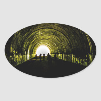 tunnel road to nowhere bryson city nature lake fon oval sticker