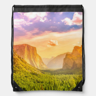 Tunnel View of Yosemite National Park Drawstring Bag