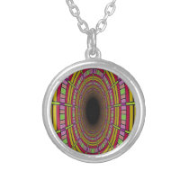 Tunnel Vision pattern Silver Plated Necklace